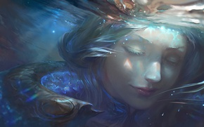Picture water, girl, water, art, League of Legends, lux, elementalist