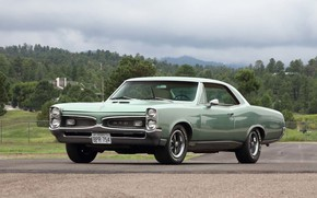Picture Green, Pontiac, 1967, Old, Hardtop, Gto