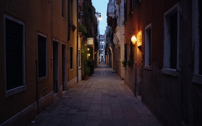 Picture The evening, Lights, Street, Italy, Venice, Italy, Street, Venice, Evening, Italia, Venice