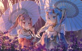 Picture girls, umbrellas, horns