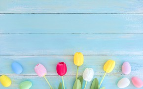 Picture flowers, eggs, spring, colorful, Easter, tulips, wood, flowers, tulips, spring, Easter, eggs, decoration, Happy, tender