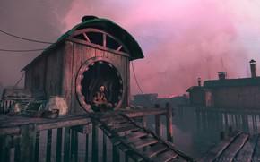 Picture shore, buildings, shack, belongings, Wise man or a pondering fool