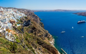 Picture sea, rocks, coast, island, home, ships, yachts, Greece, panorama, Santorini