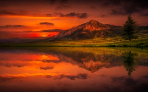 Picture the sky, clouds, landscape, reflection, mountain