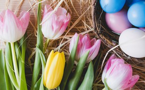Picture flowers, spring, Easter, tulips, pink, pink, flowers, tulips, spring, Easter, eggs, decoration, Happy, tender, the …