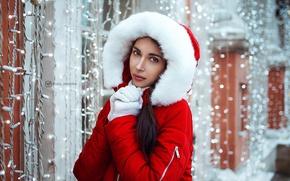 Picture winter, look, girl, glare, portrait, makeup, brunette, jacket, fur, garland, red, bokeh, rukovichki