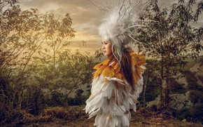 Wallpaper girl, feathers, style