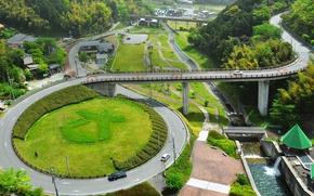 Picture road, Japan, ring, interchange, Fukuoka