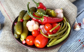 Picture cucumber, pepper, vegetables, tomato, garlic, pickles