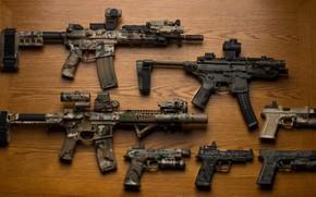 Picture weapons, guns, machines, assault rifles