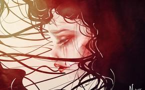 Picture girl, Gothic, blood, tears, sad, by sakuretta94