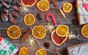 Picture holiday, new year, orange, gifts, citrus, caramel, garland