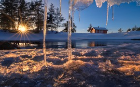 Picture house, icicles, Norway, Norway, Ringerike, Ice Cave