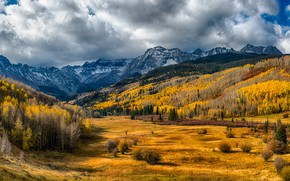 Picture autumn, forest, the sun, clouds, trees, mountains, valley, USA, Colorado, San Miguel