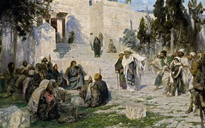 Picture picture, Vasily Polenov, mythology, Christ and the Sinner