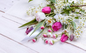 Picture flowers, bouquet, spring, colorful, tape, buds, wood, pink, flowers, spring
