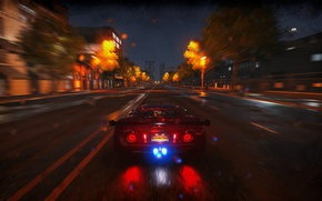 Picture car, city, lights, light, supercar, road, rain, night, carbon, speed, use the nitro