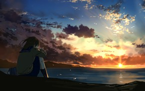 Picture sunset, anime, art, girl, sitting