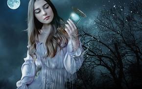 Wallpaper the moon, hourglass, night, girl