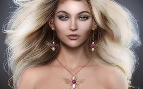 Picture hair, earrings, necklace, blonde, dvushka