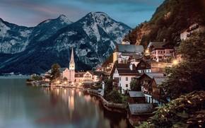 Wallpaper sunset, forest, rocks, lights, Hallstatt, lake, the evening, lights, trees, home, Austria, mountains, Hallstatt
