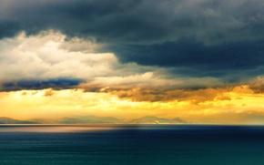 Picture sea, sunset, Crimea