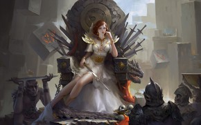 Picture look, girl, fantasy, art, chain, swords, warriors, the throne, skeletons
