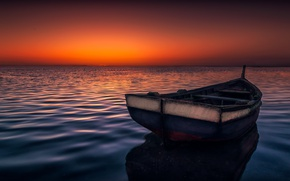 Picture sea, the sky, surface, boat