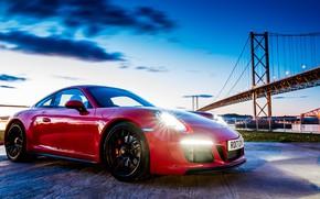 Picture bridge, the evening, 911, Porsche, Coupe, Carrera, GTS, 2017