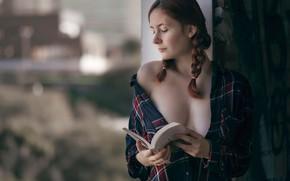 Picture neckline, book, braids, J.A. Roman, Anael