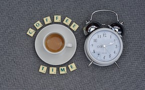 Picture letters, coffee, alarm clock