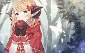 Picture forest, girl, butterfly, Apple, anime, art