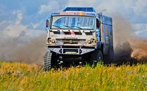 Picture Field, Grass, Dust, Sport, Speed, Race, Master, Dirt, Russia, Kamaz, Rally, Rally, KAMAZ, Master, Silk …