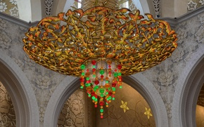 Picture chandelier, UAE, Abu Dhabi, the Sheikh Zayed Grand mosque