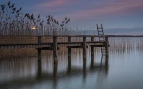 Wallpaper pier, the evening, pond