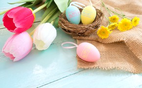 Picture flowers, basket, eggs, spring, colorful, Easter, tulips, wood, pink, flowers, tulips, spring, Easter, eggs, decoration, ...