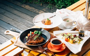 Picture tea, soup, meat, dessert, salad, cuts