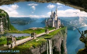 Picture sea, mountains, lake, castle, rocks, waterfall, dragons, dragon land