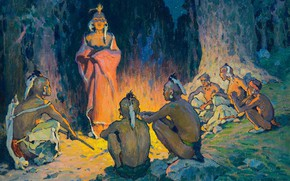 Picture fire, the fire, tribe, Eanger Irving Couse, (about 1926), The Speaker