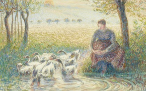 Picture birds, picture, genre, Camille Pissarro, Shepherdess with Goose