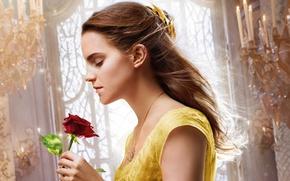 Picture cinema, girl, love, rose, Disney, Emma Watson, flower, monster, dress, movie, blonde, film, Beauty and …