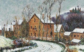 Picture winter, road, trees, landscape, home, picture, Gustave Loiseau, Gustave Loiseau, Snow in Puy, near Dieppe