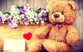 Picture flowers, gift, basket, bouquet, bear, love, heart, flowers, romantic, gift, teddy bear
