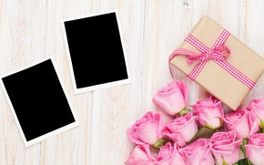 Picture roses, love, wood, pink, romantic, sweet, gift, petals, roses, valentine`s day
