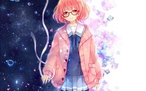 Wallpaper girl, anime, petals, tears, art, tape, kyoukai no kanata, mirai kuriyama, yamada konayuki