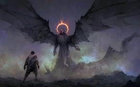 Wallpaper dark, fantasy, wings, red eyes, man, digital art, artwork, dark angel, fantasy art, creature, Demon, ...