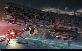 Wallpaper spaceship, Zenith: Colonist Ship, Jude Smith, planet, starship, space