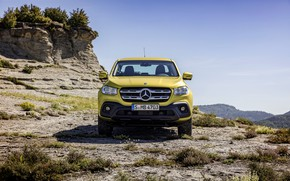 Picture the sky, clouds, yellow, rocks, hills, vegetation, Mercedes-Benz, front, pickup, shrub, 2017, X-Class