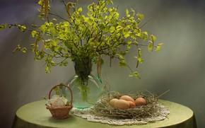 Picture eggs, birch, earrings