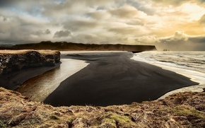 Picture sea, shore, Reynisfjara